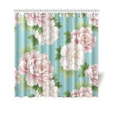 Vintage Green Curtains Pink Peonies Vintage Japanese Floral Kimono Shower Curtain 69