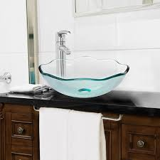 tempered glass vessel bathroom vanity sink scalloped bowl clear