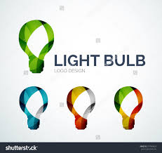 abstract light bulb logo design made of color pieces various save