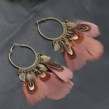 feather earings vintage indian feather earrings shakti supply