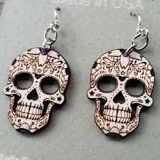 green tree earrings sugar skull blossom green tree jewelry wood laser cut wood
