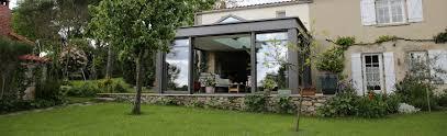 Veranda Rideau Epure Extanxia Véranda Concept Alu Vue Extérieur Avec Mur En Pierre Et