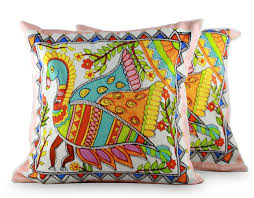 cotton cushion covers madhubani peacock novica