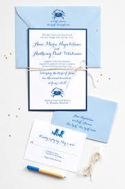 nautical wedding invitations blue crab mospens studio custom invitations gifts