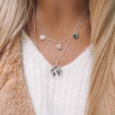 choker necklace with pendant images Gold color choker necklace for women long moon tassel pendant jpg