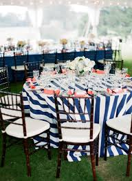 renting table linens navy blue white striped linens rent buy tablecloths overlays