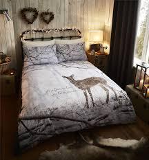 woodland deer duvet quilt cover set bed linen single double king