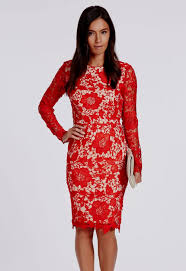 red lace dress with sleeves knee length naf dresses
