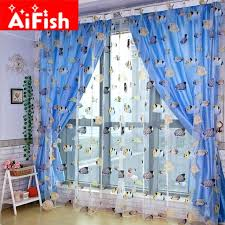 Fish Curtains Kid S Cartton Fashion Colorful Blue Heaven Sea Fish