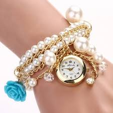 quartz bracelet wrist watches images Hot sell women rose flower faux pearl round dial quartz bracelet jpg