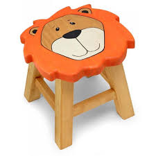 kids childrens wooden pine jungle lion stool chair seat