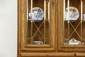 oak vintage china cabinet leaded beveled glass richardson bros