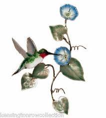 WALL ART HUMMINGBIRD WITH MORNING GLORY METAL WALL SCULPTURE