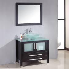 Glass Top Vanities Bathrooms Cambridge 36 Inches Glass Top Vessel Sink Vanity Set