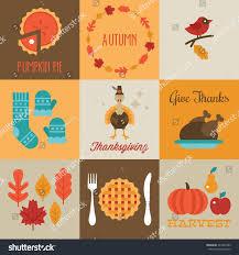 thanksgiving autumn greeting cards design flat stock vector