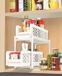 under sink storage tidy amazon co uk kitchen home 2 tier portable sliding basket drawers under sink storage