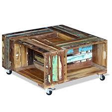 reclaimed wood square coffee table amazon com festnight reclaimed wood square coffee table with 4