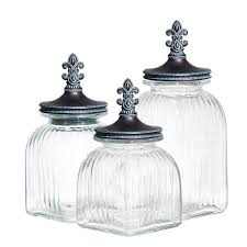 glass kitchen canister sets ec imports casa cortes 3 fleur de lis glass kitchen