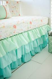 nursery beddings mint green crib skirt with mint triangle crib