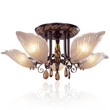 Living Room Ceiling Lamp Shades Living Room Semi Flush Ceiling Lights With 5 Light Glass Shade