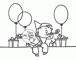funny boy and birthday present and balloons coloring page for kids