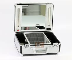Professional Makeup Artist Lighting Lighting Rolling Makeup Case With Light Mirror View Rolling