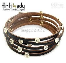ladies leather strap bracelet images Wonderful women leather bracelet vintage multilayer bangle diamond jpg