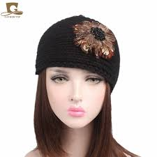 knitted headbands aliexpress buy women knit headbands feather fur flower