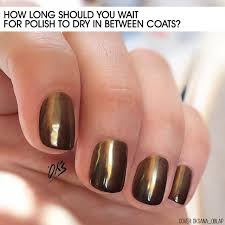 how long should you wait for polish to dry in between coats