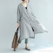 black white plaid shirt dress casual stylish coat plus size long sleeve maxi dress3 jpg