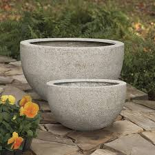 Low Bowl Planters by Planters Light Weight Bowls Set Of 2 Sandstone Thos Bak