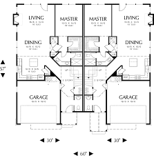 Single Story Duplex Floor Plans High Ceiling Duplex With Options 6984am Architectural Designs