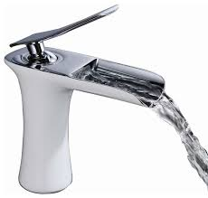 waterfall style white chrome sink faucet modern bathroom sink