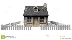 Cottage House Quaint Cottage House With Garden And Picket Fence Royalty Free