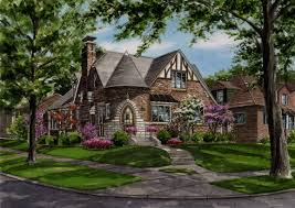 watercolor portrait brick tudor style residence created by