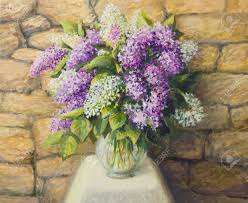 an oil painting on canvas of a beautiful still life with blooming