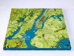 Topographic Map Usa by New York City 3d Model Topographic Map Color Frontal Stock Photo