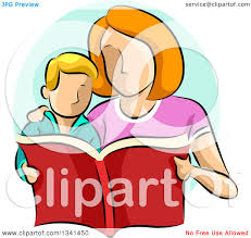 clipart of a sketched caucasian mother reading a book to her son