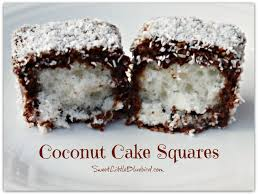Homemade Coconut Cake by Sweet Little Bluebird Coconut Cake Squares Lamingtons