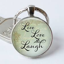 inspirational keychains live laugh inspirational quote keyring glass cabochon silver