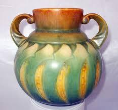 Rosewood Pottery Vase Roseville Falline Blue Fade 6