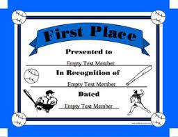 baseball 1st place certificate creator