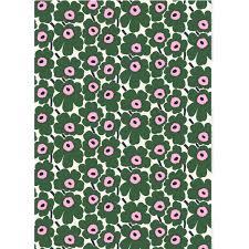 marimekko pieni unikko white green pink cotton fabric