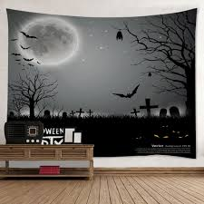 wall hanging art halloween cemetery print tapestry gray w inch l