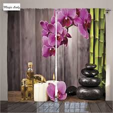 curtains thermal spa home decor orchid flower rock bamboo asian
