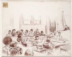 file sketch of an overview of the courtroom that includes the