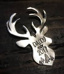 buck hand stamped pewter ornament keychain personalized u2013 d