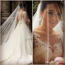 Chapel Train Wedding Dresses 2014 Vintage Bateau A Line Chapel Train Wedding Dresses Sheer Lace