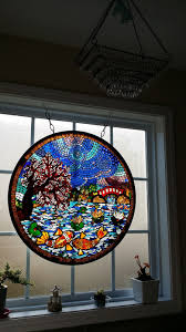 octagon stained glass window green man mosaics