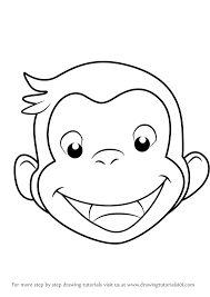 learn draw curious george face curious george step